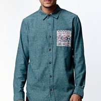 On The Byas Long Sleeve Button Up Shirt - Mens Shirt - Green