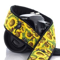 151 Camera Strap Sunflowers and Birds