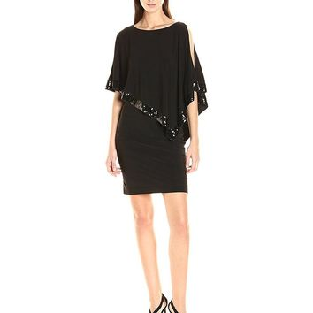 Adrianna Papell Sequin-Trimmed Cutaway Capelet Dress