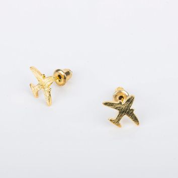 Fashion Women Airplane Design  Jet Plane Air Tone Bling Stud Earring Cool Aircraft Earrings Pretty Party Jewelry Gifts
