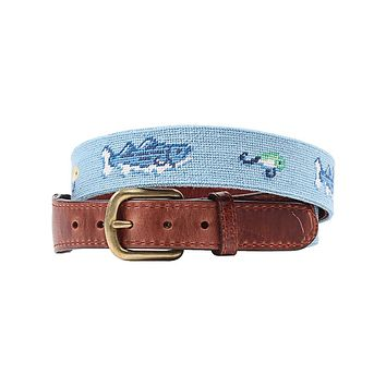 Vineyard Vines Bass and Lures Needlepoint Belt in Light Blue by Smathers & Branson