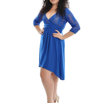 Blue Lace Half Sleeve Lace High Waist Pleated Mini Dress