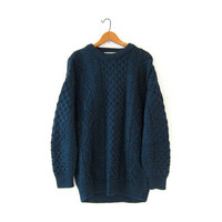 Vintage wool sweater. Oversized sweater. Chunky knit pullover. Irish knit sweater. Cable knit sweater