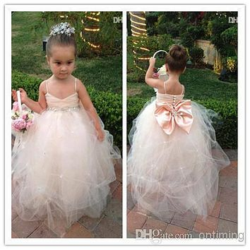 2017 Lovely Ball Gown Little Girl's Pageant Dresses Back Big Bow Beads Spaghetti Cheap Flower Girl Dresses For Weddings AF21