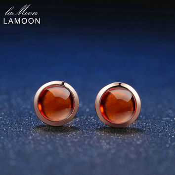 LAMOON Classic 6mm 1.1ct 100% Natural Red Garnet 925 Sterling Silver Jewelry 18K Rose Gold stud earrings S925 LMEI022