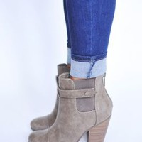 Leatherette Bootie- Taupe