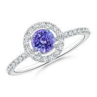 Floating Tanzanite and Diamond Halo Antique Style Ring