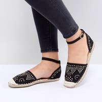 Truffle Collection Wide Fit Stud Trim Espadrille at asos.com