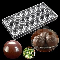bakeware pan Ball shape chocolate molds,kitchen baking tools mini fondant cake candy ball chocolate making polycarbonate moulds
