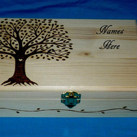 Decorative Wooden Tea Box Wood Burned Tea Chest Love Birds Engraved Tea Jewelry Storage Gift