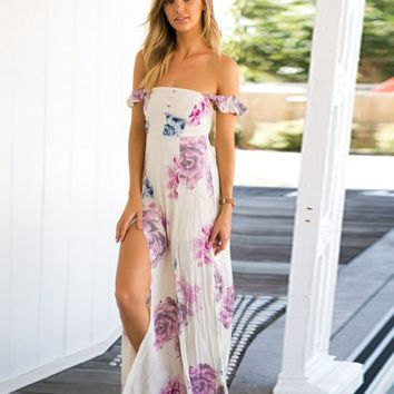 SEXY FLORAL OFF SHOULDER SIDE SLIT LONG DRESS