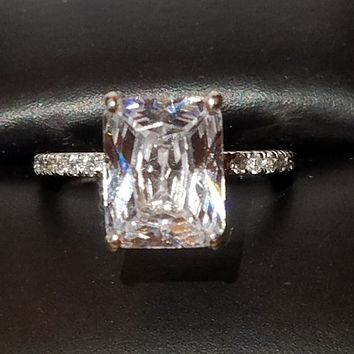 Cubic Zirconia Engagement Ring-*Clearance* The Sparkela (2.0 Carat Radiant Cut with Semi-Eternity Band in Platinum)