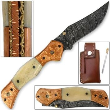 Magnum Rancher Damascus Folding Knife Engraved Copper Bolster Camel Bone Grip