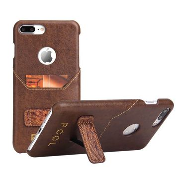 Genuine Leather Wallet Kickstand Case Card Slot For iPhone 7 Plus 5.5 Inch