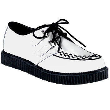 Demonia White Leather One Inch Creepers