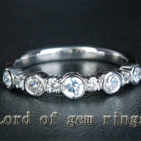 Diamond Wedding Band Half Eternity Anniversary Ring 14K White Gold Bezel