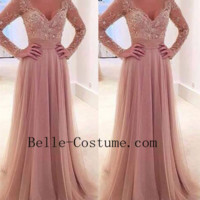Long Sleeves V-neck Tulle Prom Dress, Long Sleeve Prom Dresses, Long Sleeve Evening Formal Dresses