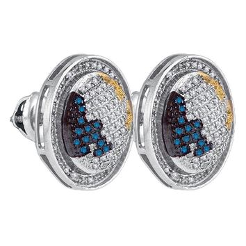 Sterling Silver Mens Round Blue Yellow Color Enhanced Diamond Circle Stud Earrings 5-8 Cttw - FREE Shipping (US/CAN)