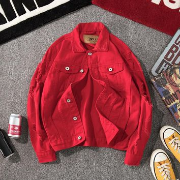 Trendy YuWaiJiaRen Spring Autumn Denim Jacket Men and Women Fashion Streetwear Jeans Jacket Cotton Loose Hole Basic Coat AT_94_13