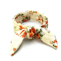 Lace Bun Wrap Top Knot Tie Wired Hair Accessory Ponytail Wrap Wrist Wrap Floral Orange Cream Green Teen Bun Wrap Gift Idea Ready to Ship