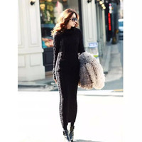 Turtleneck Long-Sleeve Knitted Mid Dress With Pocket