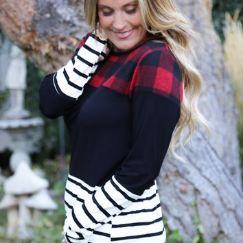Plaid and Stripes Colorblock Tunic | S-XL
