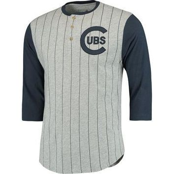 Men's Chicago Cubs Red Jacket Heathered Gray Double Play 3/4-Sleeve Raglan Henley T-Shirt