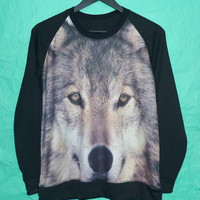 Wolf Cold Dog Winter Wolves Siberian Husky  Animal Art Men T-Shirts Jumper Women Sweaters Long Sleeve Men T Shirt Unisex Jumper Sweaters M/L