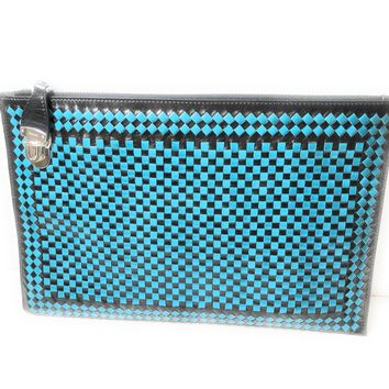 Prada Women's Madras Clutch Handbag Woven Leather Blue and Black BP8681