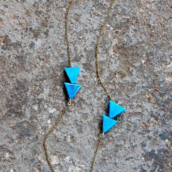 Arrow Necklace (2) Howlite Turquoise Long Triangle Geometric Arrow Necklace - by Bark Decor