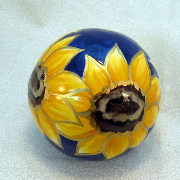 Ceramic Sunflower Paperweight