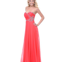 SALE! Coral Chiffon Rhinestone Strapless Prom Dress - Unique Vintage - Prom dresses, retro dresses, retro swimsuits.