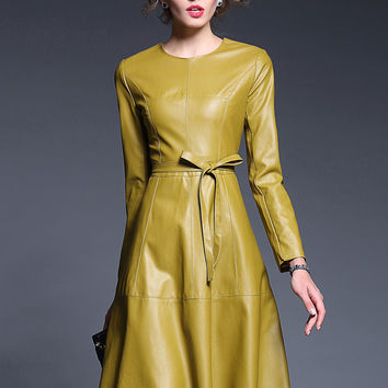 Yellow  Faux Leather Leather Tie-Waist A-Line Dress