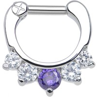 "14 Gauge 1/4"" Five Clear and Tanzanite Cubic Zirconia Septum Clicker"