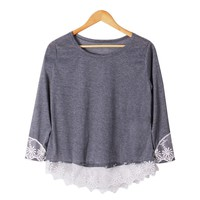 Fashion Women Long Sleeve Shirt Casual Lace Blouse Loose Cotton Tops T Shirt (Gray Lace)