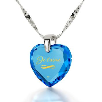 """""""I Love You Infinity"""" in French, 925 Sterling Silver Necklace, Cubic Zirconia"""