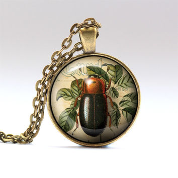 Beetle charm Insect necklace Bug pendant RO189