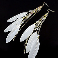 [NewYearSale]Sweet Style Feather Rhinestone Drop Earrings(Assorted Color) - Default