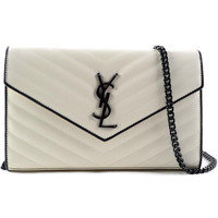 Saint Laurent Monogram Chain Wallet Dove and White Grain de Poudre Matlasse' Leather