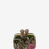 "Embroidered ""Queen And King"" Skeleton Box Clutch 