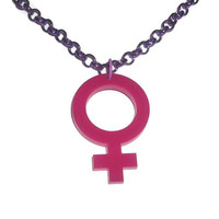 Venus Sign Necklace, Hot Pink Female Gender Symbol, Riot Girl, Feminism