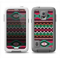 The Vector Green & Pink Aztec Pattern Samsung Galaxy S5 LifeProof Fre Case Skin Set