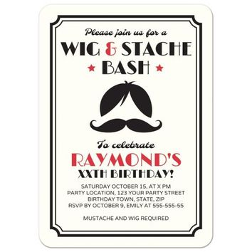 Wig and mustache birthday party bash invitation in muted red and black