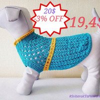Light Blue Colour Cotton Summer Dress For Dog. Handmade Knit Spring Clothes For Pets. Sweater for Dog. Size S