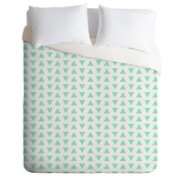 Allyson Johnson Minty Triangles Duvet Cover