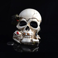 Skeleton Skull with Cover Ashtray