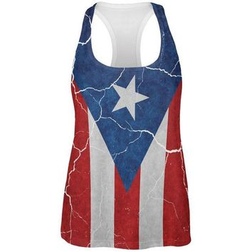 CREYON Distressed Puerto Rican Flag All Over Womens Work Out Tank Top