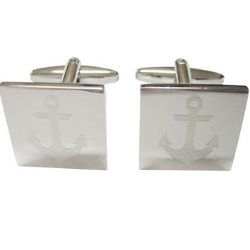 Silver Toned Etched Nautical Anchor Cufflinks