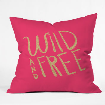 Allyson Johnson Wild and free glitter Throw Pillow