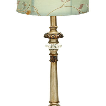 Metal Buffet Lamp With Beige Colored Shade